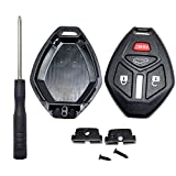 Cutting Not Required Key Fob Case Shell Fit for Mitsubishi Eclipse Lancer Endeavor Galant Outlander Replacement Keyless Entry Remote Car Key Fob Cover Housing With Button Pad (4 Buttons)