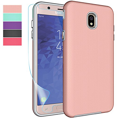 Samsung Galaxy J7 2018 Case, J7 Refine,J7 Aero,J7 Star,J7 Top,J7 Crown,J7 Aura,J7 Eon Case with Screen Protector,NiuBox Slim Fit Hybrid Armor Shock Absorption Protective Phone Cover Case Rose - Protector Case Top