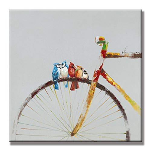 SEVEN WALL ARTS - Hand Painted Oil Painting Animal Birds Stay on The Bike with Stretched Frame : 24 x 24 Inch