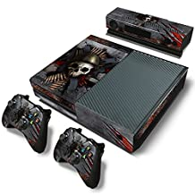 Xbox One Console Skin Decal Sticker Skull + 2 Controller & Kinect Skins Set
