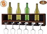 Angel's Wall Mounting Sheesham Wood Wine Rack | Real Solid Wood | Bar Unit | Glass Rack | Bottle Rack | - Walnut Finish - Limited Offer