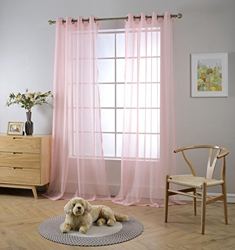 - Miuco 2 Panels Grommet Textured Solid Sheer Curtains 84 Inches Long for Living Room (2 x 54 Wide x 84