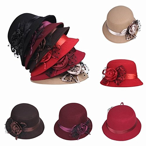 fee3c112132 Amazon.com  Women Gauze Party Dress Hat Bowler Church Lady Wedding Round Cap  Small Brim Chapeau Khaki one size  Home   Kitchen