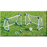 Kids twin mini practice goal posts with A frames childrens soccer goals set of 2