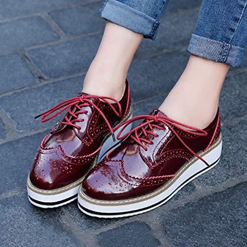 d89a854dce3c ... chaussures Vernis Antidérapant Lacets Mocassins Minetom Rouge Ville  Cuir Oxford Rétro À Femmes Loafers De Derbies ...
