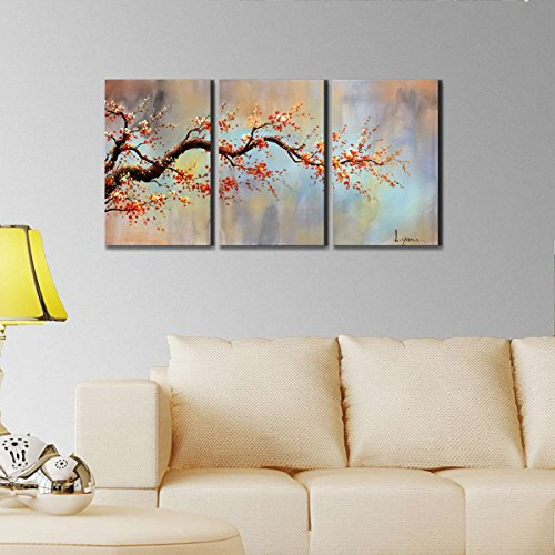 "ARTLAND Modern Flower Painting on Canvas ""Orange Plum Blossom"" 3-Piece Gallery-Wrapped Framed Wall Art Ready to Hang for Living Room for Wall Decor Home Decoration 16x36inches"