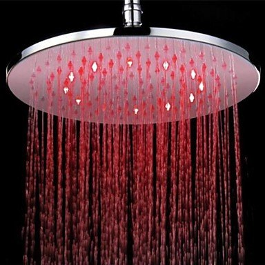 Contemporary Rain Shower Chrome Feature - LED, Shower Head