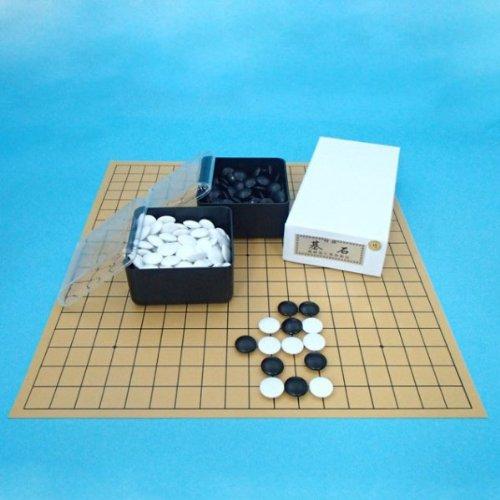 囲碁セット 塩ビの碁盤とプラスチック碁石竹と角ケースセット