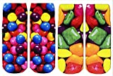 Luvsox Women's Yummy Photo Print Ankle Socks Shoe 2-pack