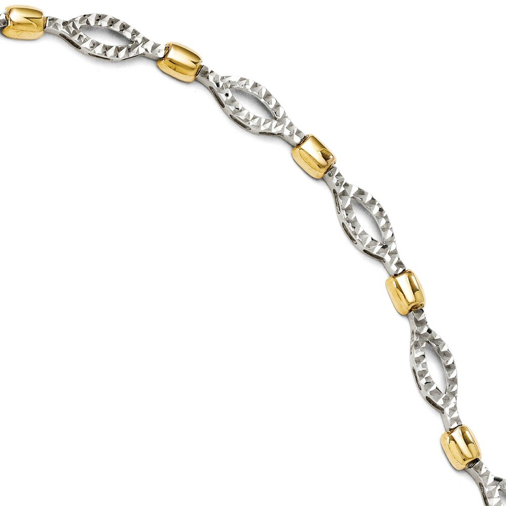 14k Two Tone Yellow Gold Bracelet 7 Inch Chain Fancy Fine Jewelry Gifts For Women For Her