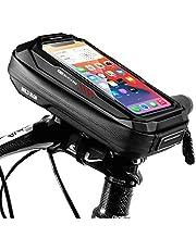 """ENONEO Rower uchwyt na telefon komórkowy motocyklowy, wodoszczelny, pokrowiec na telefon komórkowy z ekranem dotykowym i ochroną przed deszczem, uchwyt na telefon komórkowy do iPhone 11/X/XS/XR/8/7/Samsung S9+/S8/Huawei do 6,5"""" (czerwony)"""