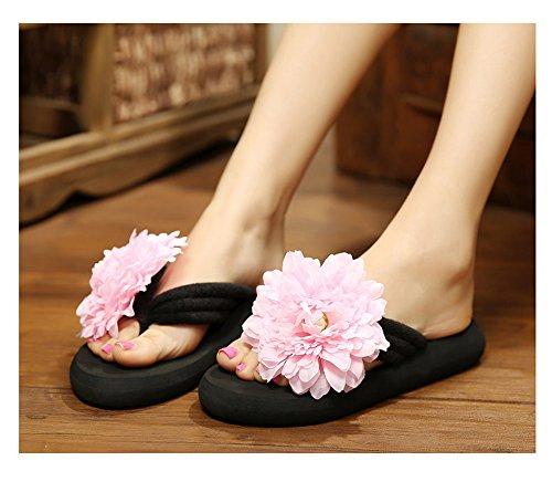 Damen Böhmische Blumen Zehntrenner Pantoletten Strandschuhe Hausschuhe Sandalen slippers Rosa