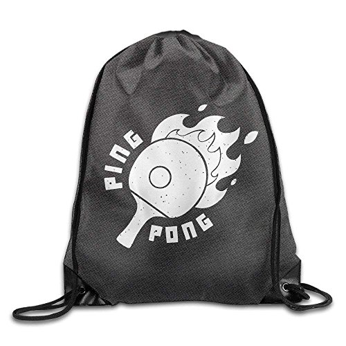 Cartoon Retro Ping-pong Gym Drawstring Backpack Unisex Portable Sack Bag by X-Large