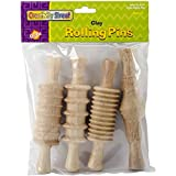 Creativity Street CK-3748 Wood Rolling Pin Set, Assorted 4 Patterns, 6'', 4/Pack
