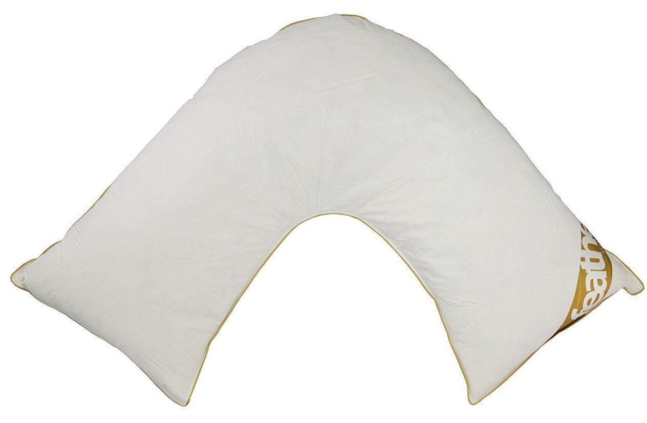 Orthopaedic V-SHAPED PILLOW Filled with Goose Feather & Down for Neck Spine & Back Support & Maternity by Queens Land Home. (White) Night UK Limited