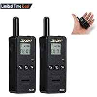 SCORP Walkie Talkie, Mini Two Way Radio 128 Channels Up to 3 Miles LCD Display UHF Handheld Walkie Talkies with Earpiece (2pcs Pack, Black)