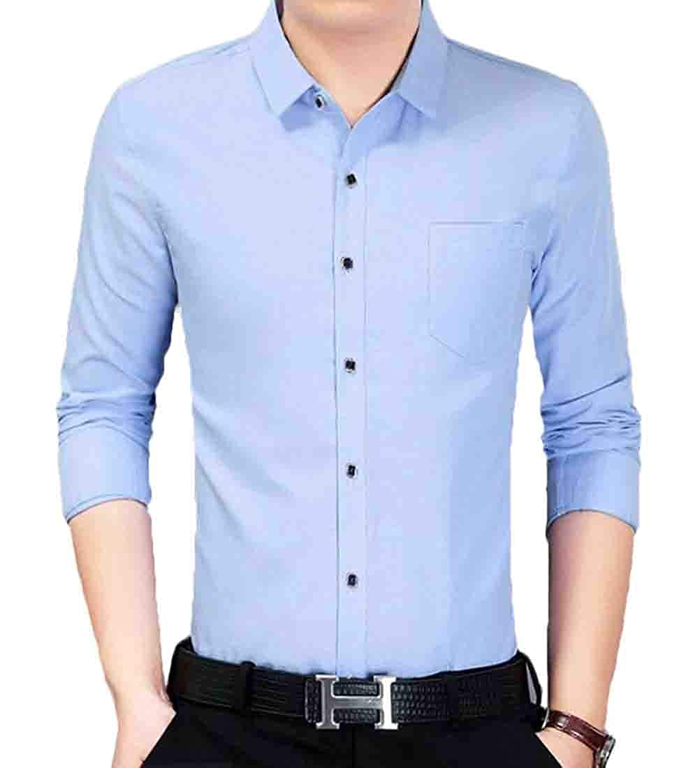 JXG Men Long Sleeve Casual Button Front Slim Fit Printed Single Pocket Shirts