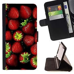 BullDog Case - FOR/Sony Xperia Z2 D6502 / - / Strawberry /- Monedero de cuero de la PU Llevar cubierta de la caja con el ID Credit Card Slots Flip funda de cuer
