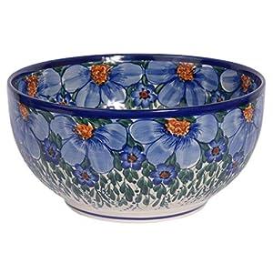 Traditional Polish Pottery, Handcrafted Ceramic Salad or Fruit Bowl 2.8l (d.24cm), Boleslawiec Style Pattern, M.705.CREDO