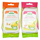 Aleva Naturals Bamboo Baby Toy Wipes and Hand 'n' Face Wipes Bundle with Natural and Organic Ingredients, 30 Wipes (5.9x7.9 in.,15 x 20cm) each