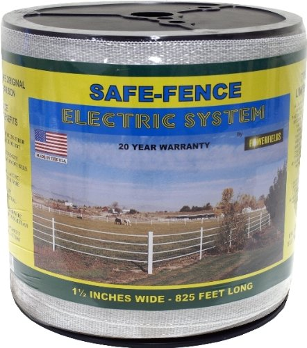 White Powerfields H-3 Safe-Fence, Electric Fence Poly Tape, 825-Feet Roll, 1.5-Inch Wide, White