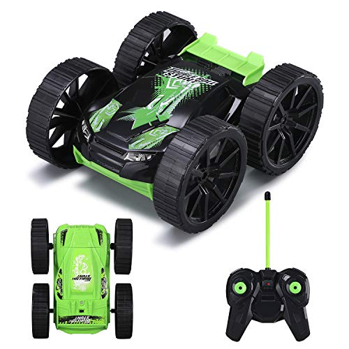 Remote Control Car, RC Stunt Vehicle 360°Rotating Rolling Double-sided 4WD Radio Control Cool Kids Toy Gifts for Boys and Girls Green MKB(Battery Included)