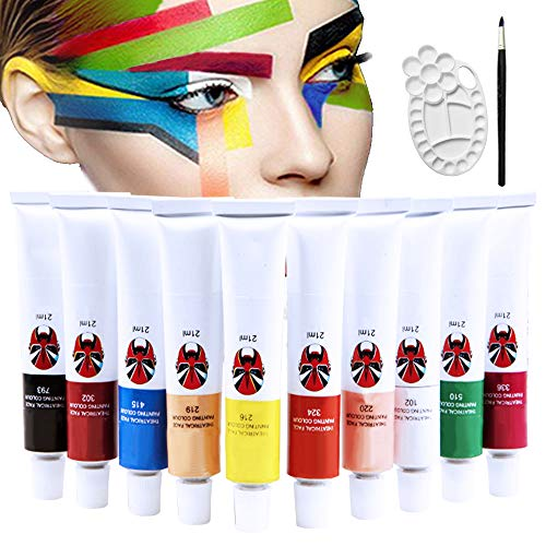 Happlee 10 Colors Face and Body Paint Set with Brush and Palette Non-Toxic Professional Facepaints Moisturizing Face Painting for Kids & Adults for Party, Halloween, Carnival(1.76 fl.oz)]()