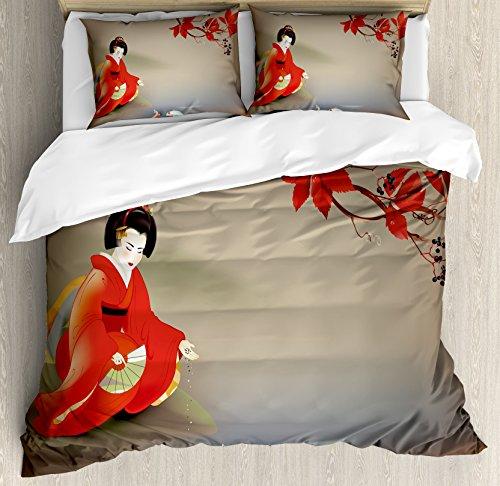 Lunarable Koi Fish Duvet Cover Set King Size, Geisha Feeding Sacred Beast Autumn Time Asian Culture Eastern Vibes Oriental, Decorative 3 Piece Bedding Set with 2 Pillow Shams, Sepia Multicolor ()