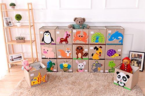 Wo Baby Foldable Canvas Fabric Toy Storage Box Cube Bin