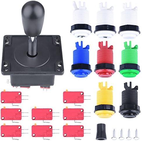 Quimat Arcade Joysticks Parts Bundles Kit, Arcade Zubehör Kit mit 1 Joystick, 8 Push Buttons (1P / 2P Tasten & 6pcs Buttons) für Arcade Videospiel Multicade MAME Jamma Spiel