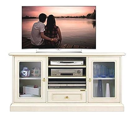 TV-Möbel aus Holz und Lackierung, TV-Vitrine mit Glastüren ...
