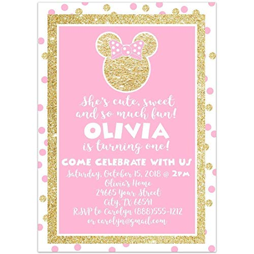 Minnie Pink and Gold Glitter Birthday Party Invitations -