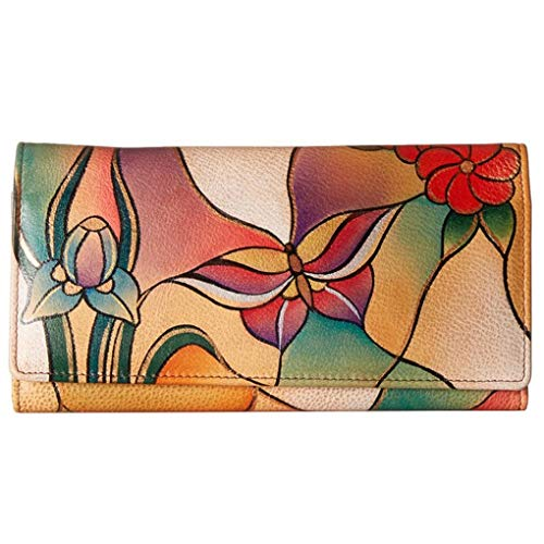 Anna by Anuschka Ladies Wallet & Key Chain (Multi Pocket Butterfly Glass Painting)