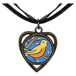 Chicforest Bronze Retro Style Four Calling Birds Photo Storybook Heart Shaped Pendant