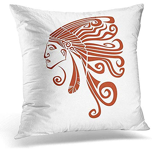 Head Terra Cotta - Johnnie Decorative Pillow Cover Native American Profile Silhouette Portrait Red Indian Chief Wearing Traditional Headdress Terracotta Throw Pillow Case Square Home Decor Pillowcase 18x18 Inches