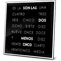 LED Word Clock 8 x 8 - Displays Time As Text - Wall Mount or Desktop with Built-in Stand/Powered by AC Adapter {Included} (Spanish 8 x 8)