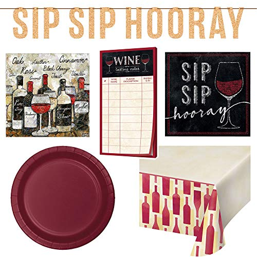 Wine Tasting Party Kit Disposable Party Bundle, 7 Items Includes: Sip Sip Hooray, Team Red/Team White and This Wine is Making Me Awesome Beverage Napkins, Food Markers, and a Party Planning Checklist ()