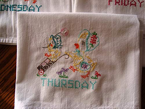 Days of the Week set of embroidered tea towels, Mama Duck and duckling, machine embroidery