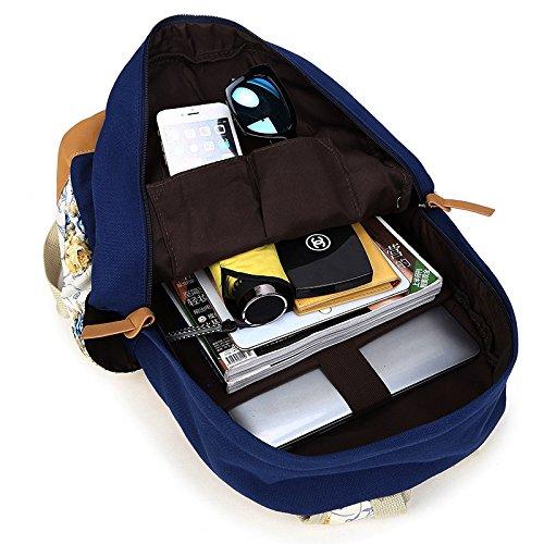 Casual escolar Guerra portátil Marina Flor niñas mochila impresa de para lona bolso adolescentes ligera mochilas H6qxwUn5w