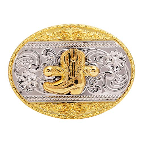 Western cowboy Horseshoe Belt Buckles-Gold Plated Large belt buckle for Men and -