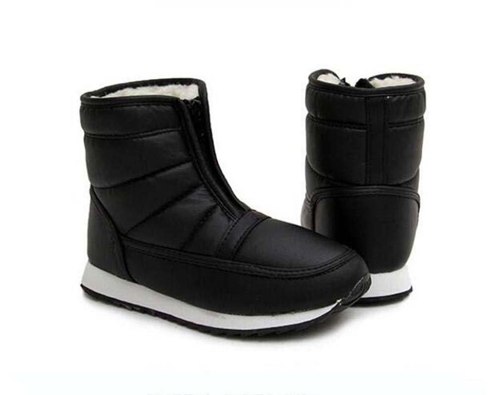 Unisex par botas de nieve impermeables botas de felpa cálida antideslizante botas de algodón ligeras ronda dedo del pie cremallera al aire libre alto botín Snekers Eu tamaño 34-46 ( Color : Black , Size : 35 ) 35|Black