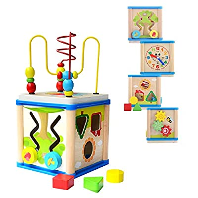 DalosDream Wooden Activity Cube with Bead Maze - 6 in 1 Multipurpose Educational Wood Shape Color Sorter Toy for Toddlers, Activity Center for Kids (6 in 1): Toys & Games