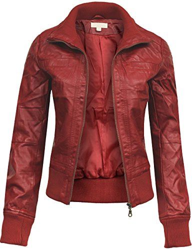 BEKDO Womens Classic Mock Collar Fitted Biker Zip Up Faux Le