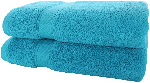 100% Pure Organic Luxury Hotel & Spa,Premium Quality. 700 GSM Extra Large towel Last long Super Soft, Plush and Ultra Absorbent Quick dry 35 x 70-Inch (Bath Sheet- Set of 2, Caribbean Aqua) by Aspendos Linen (Image #3)