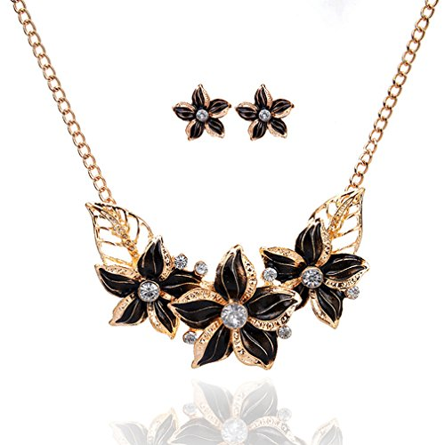 Earrings Plated Lucky Gold (HENGSONG Women Crystal Flower Statement Gold Plated Necklace Earrings Jewelry Set (Black))