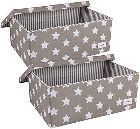 Minene – Juego de cajas de almacenamiento con tapa (tamaño grande, gris/blanco estrellas): Amazon.es: Bebé