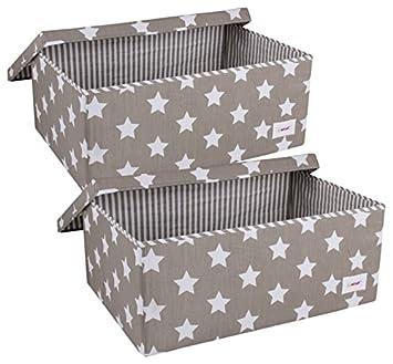Super Minene Aufbewahrungsbox Set mit Deckel (groß, grau/weiß Sterne KQ39