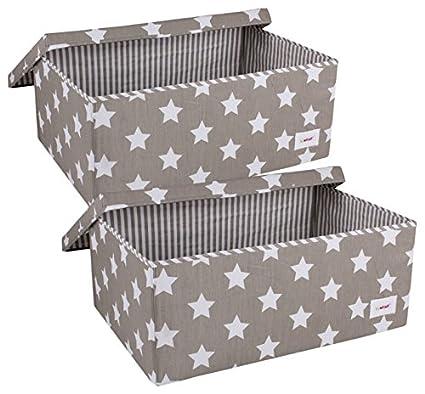 Minene – Juego de cajas de almacenamiento con tapa (tamaño grande, gris/blanco