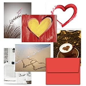 72 Note Cards - Be My Valentine - 6 Designs - Including Red Envelopes