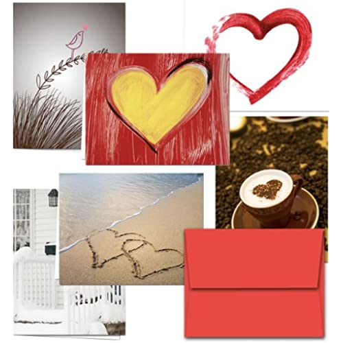 72 Note Cards - Be My Valentine - 6 Designs - Including Red Envelopes Sales